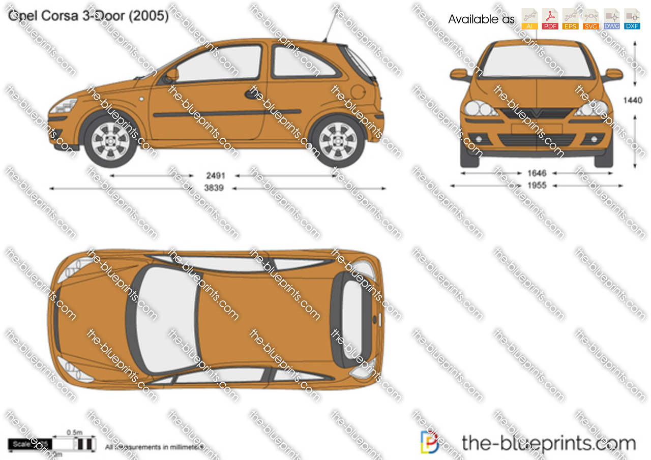 Opel Corsa C 3 Door Vector Drawing