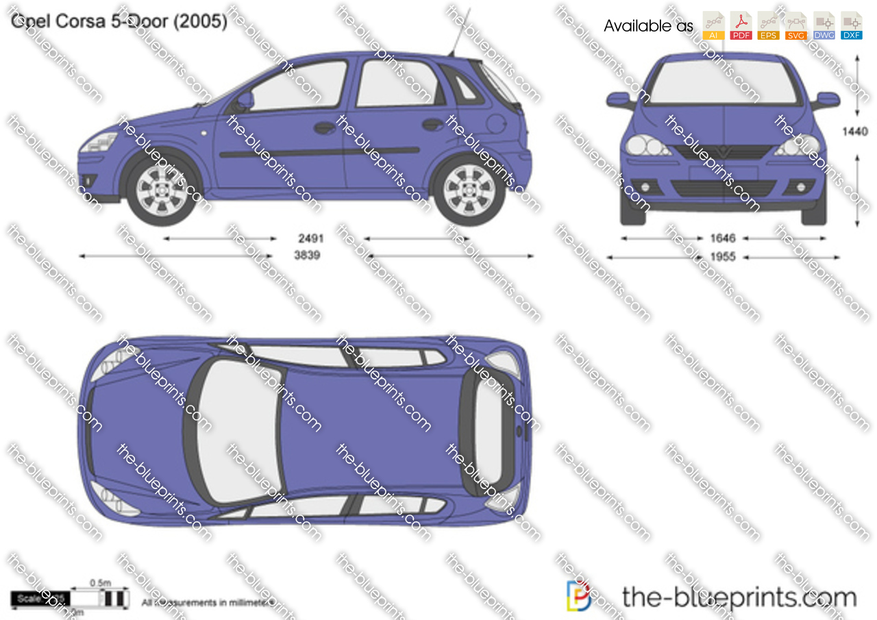 Opel Corsa C 5 Door Vector Drawing