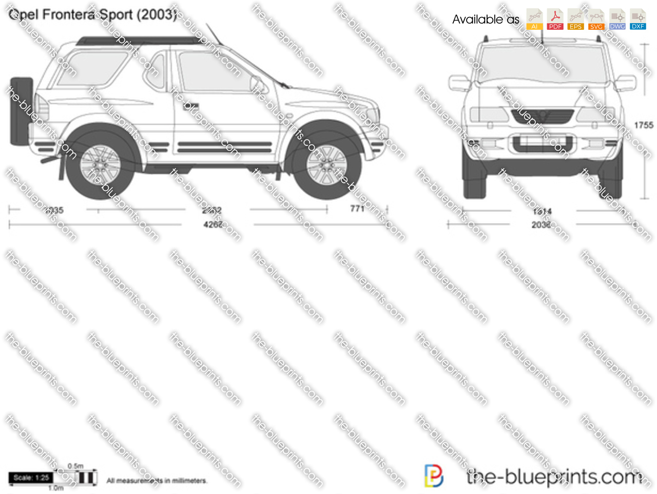 opel frontera sport vector drawing