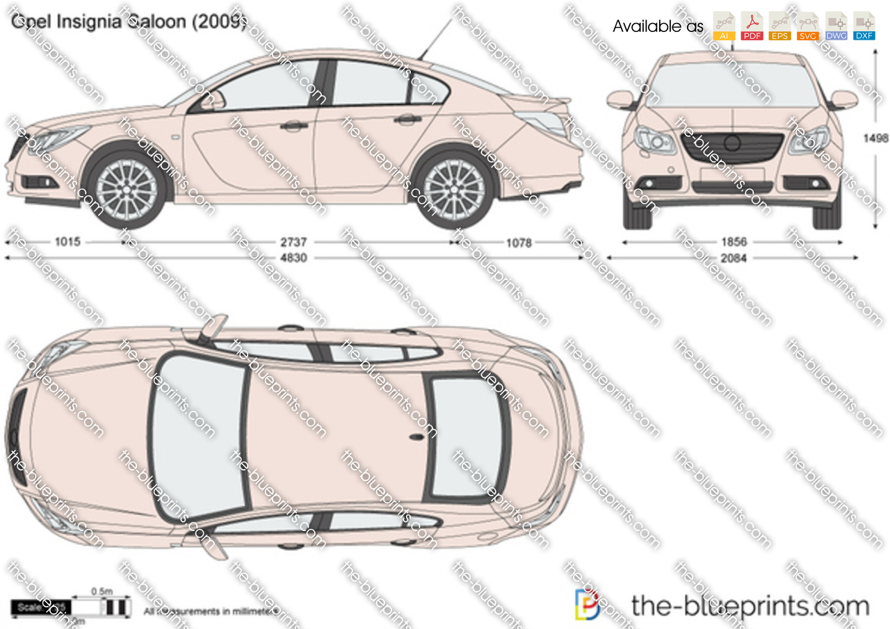 Opel Insignia Saloon Vector Drawing