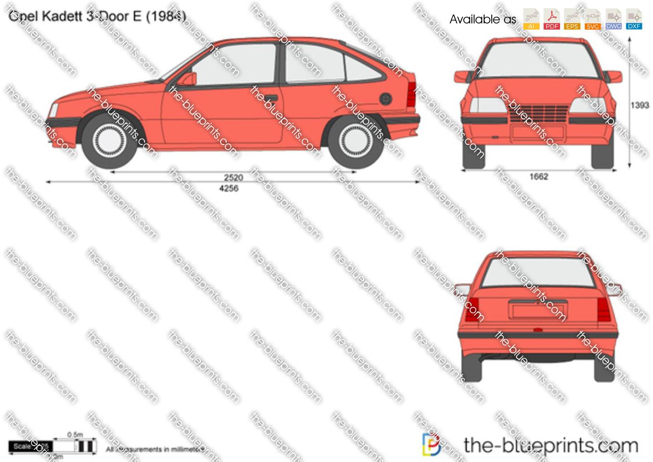 The vector drawing opel kadett e 3 door for Opel kadett e interieur