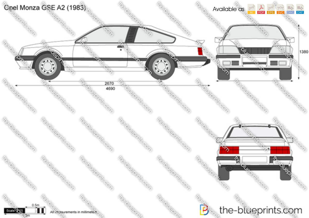the vector drawing opel monza gse a2. Black Bedroom Furniture Sets. Home Design Ideas