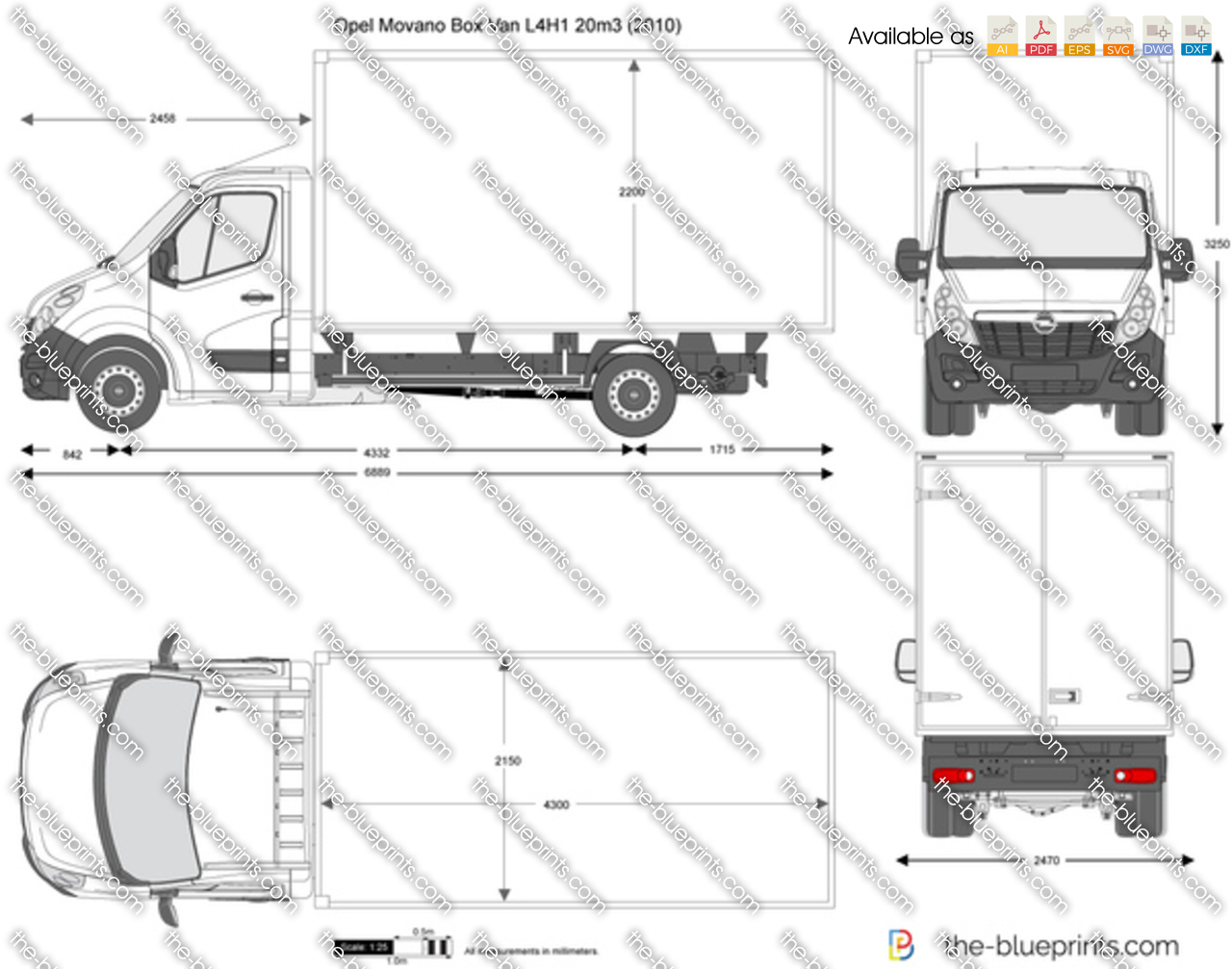 the vector drawing opel movano box van. Black Bedroom Furniture Sets. Home Design Ideas