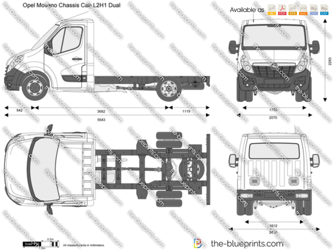 opel movano chassis cab l2h1 dual vector drawing. Black Bedroom Furniture Sets. Home Design Ideas