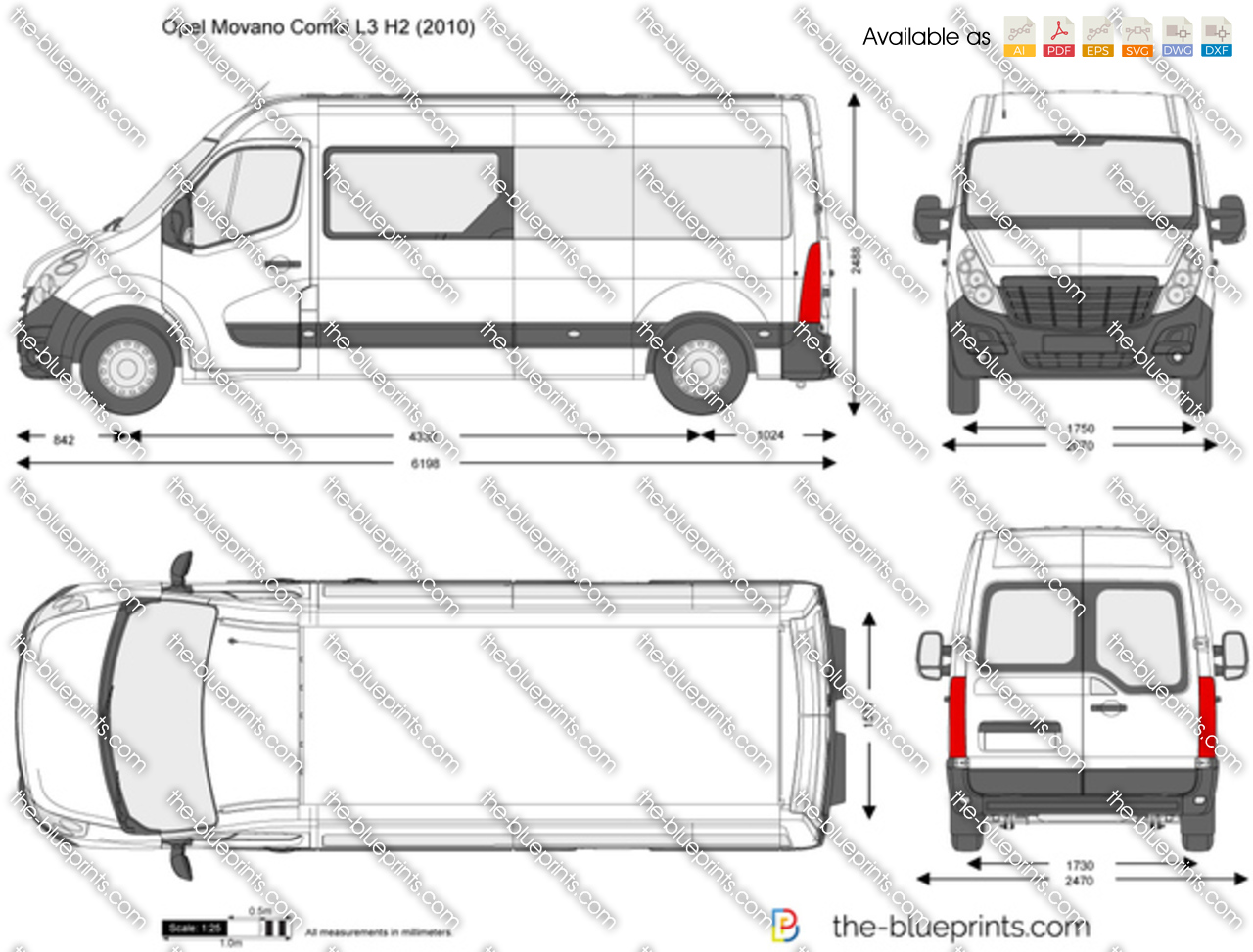Opel Movano Combi L3 H2 Vector Drawing