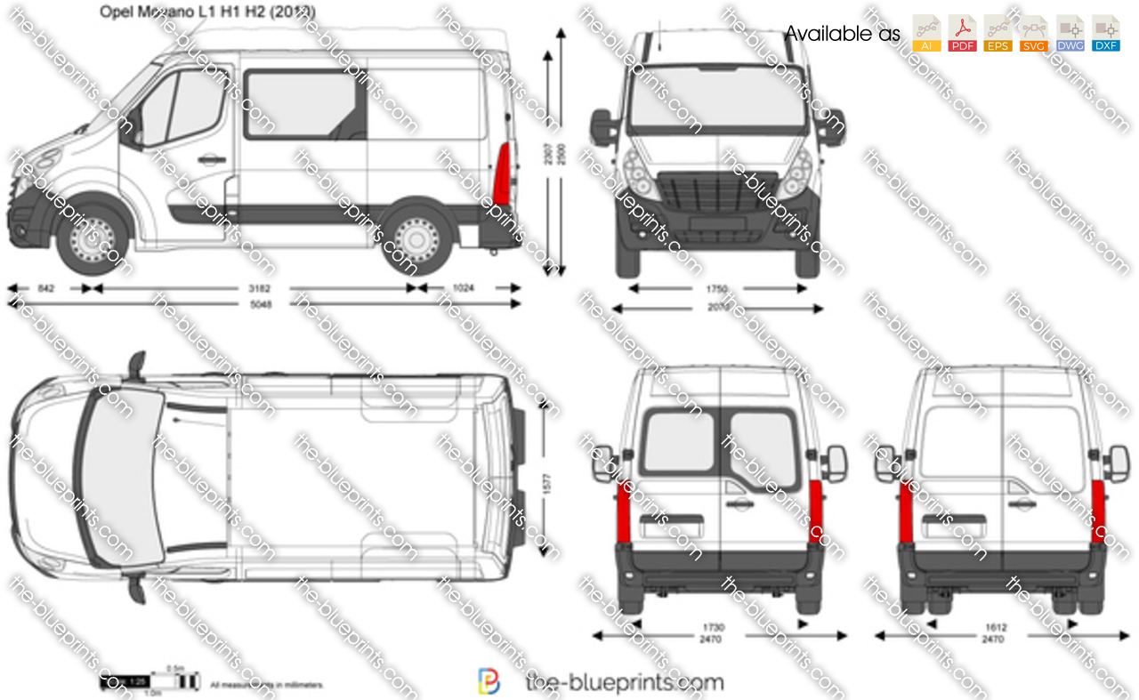 opel movano l1 h1 h2 vector drawing