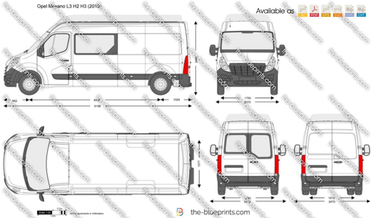 The vector drawing opel movano l3 h2 h3 - Badkamer lengte plan ...