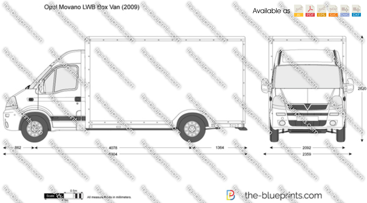 opel movano lwb box van vector drawing