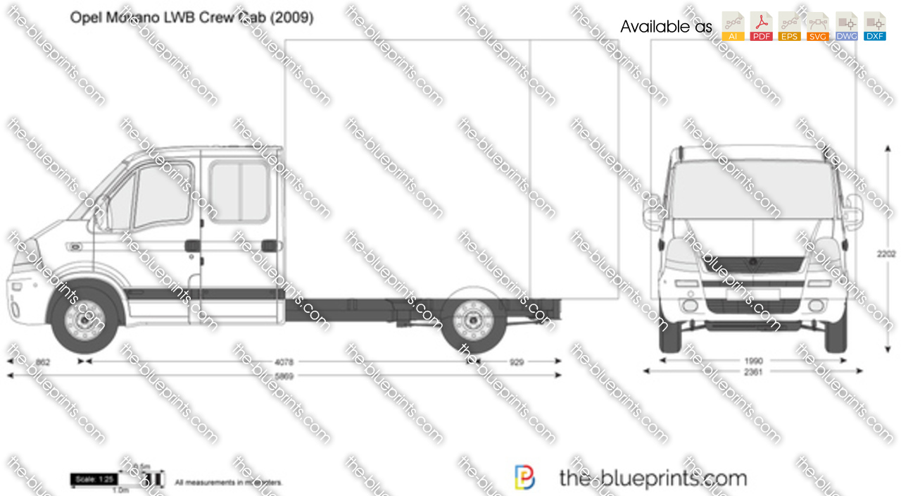 the vector drawing opel movano lwb crew cab. Black Bedroom Furniture Sets. Home Design Ideas