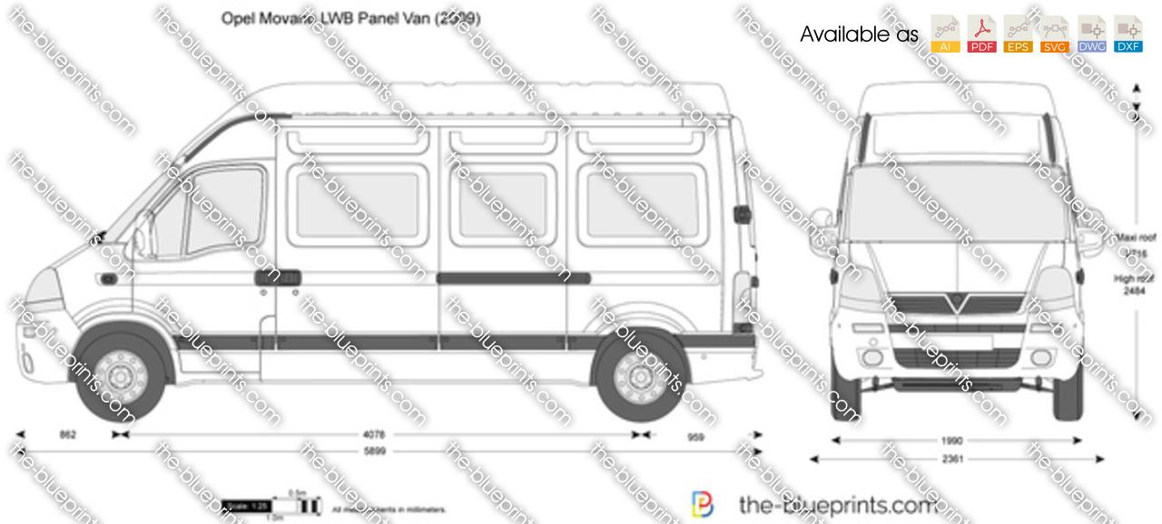 Opel Movano Lwb Panel Van Vector Drawing