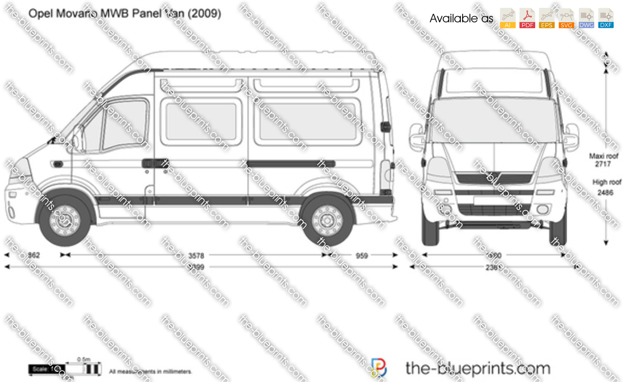 opel movano mwb panel van vector drawing