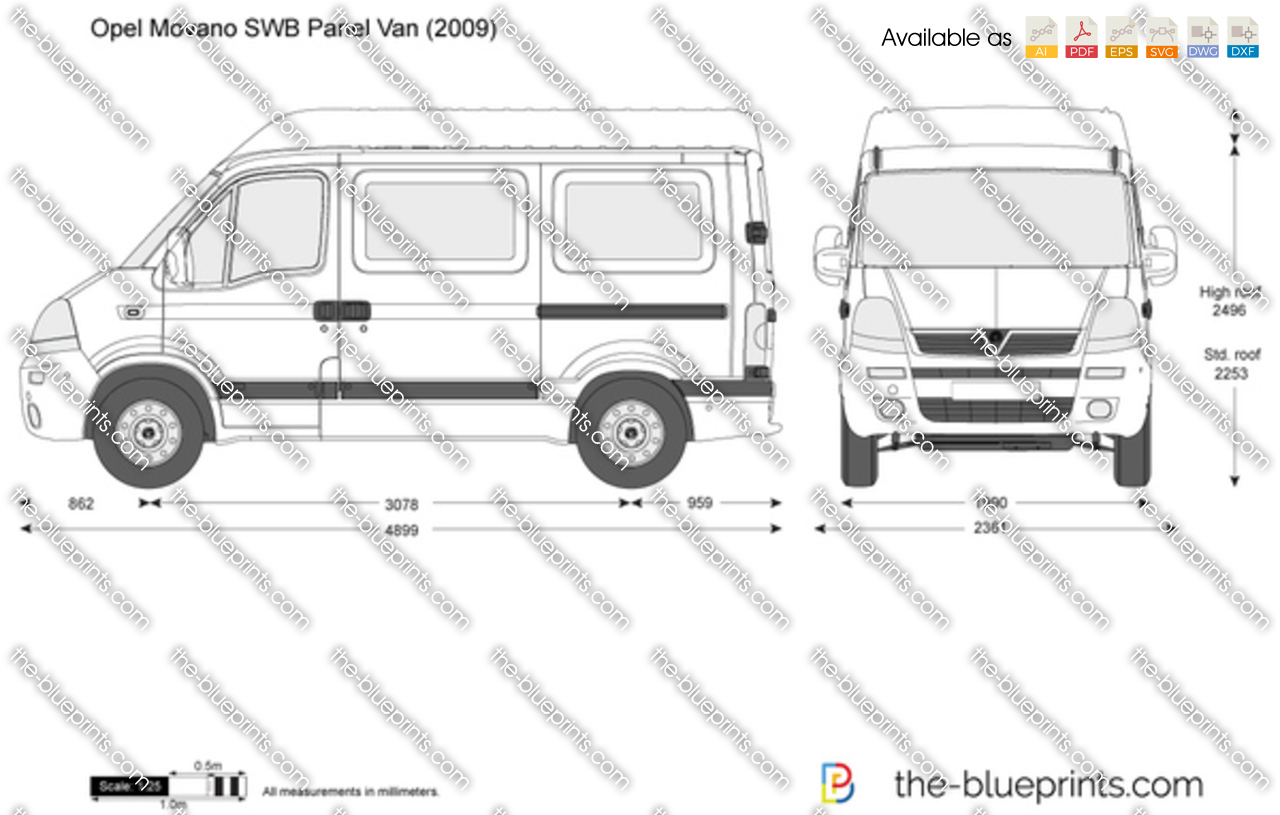 opel movano swb panel van vector drawing