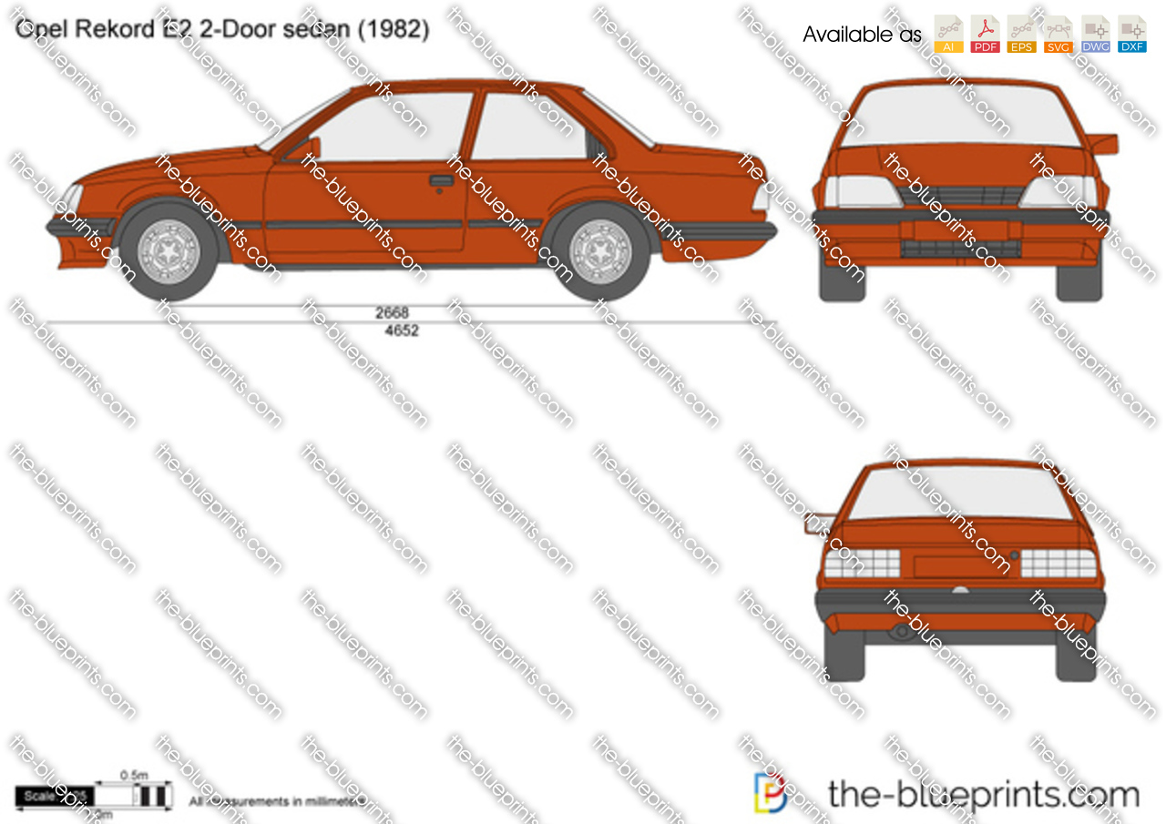 opel rekord e2 2 door sedan vector drawing. Black Bedroom Furniture Sets. Home Design Ideas