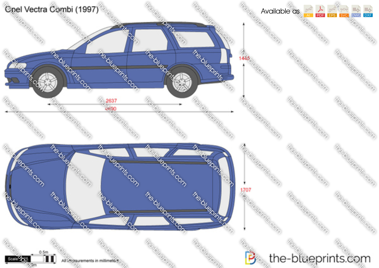 Opel Vectra Combi Vector Drawing