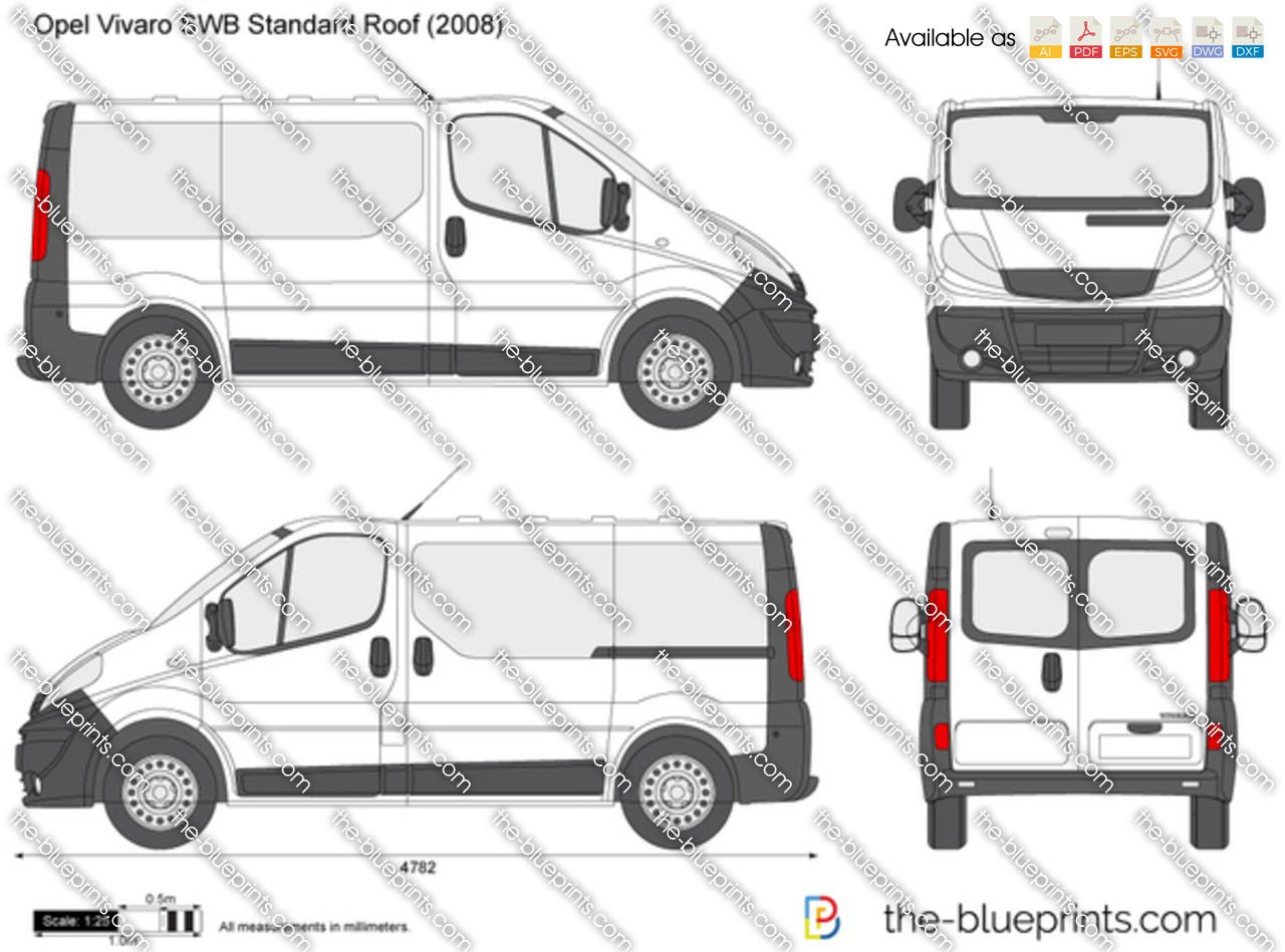 opel vivaro swb standard roof vector drawing