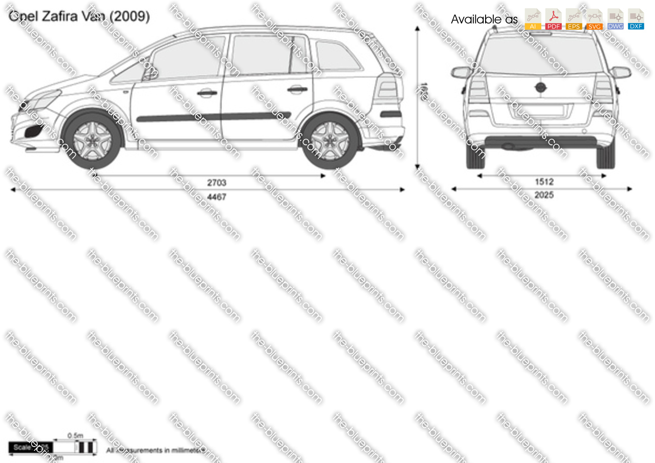 opel zafira van vector drawing