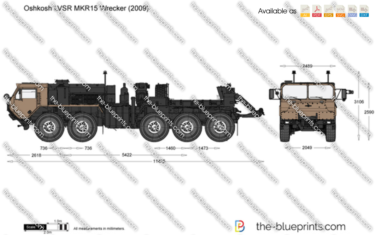 Oshkosh Lvsr Mkr15 Wrecker Vector Drawing