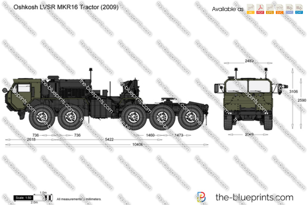 Oshkosh Lvsr Mkr16 Tractor Vector Drawing