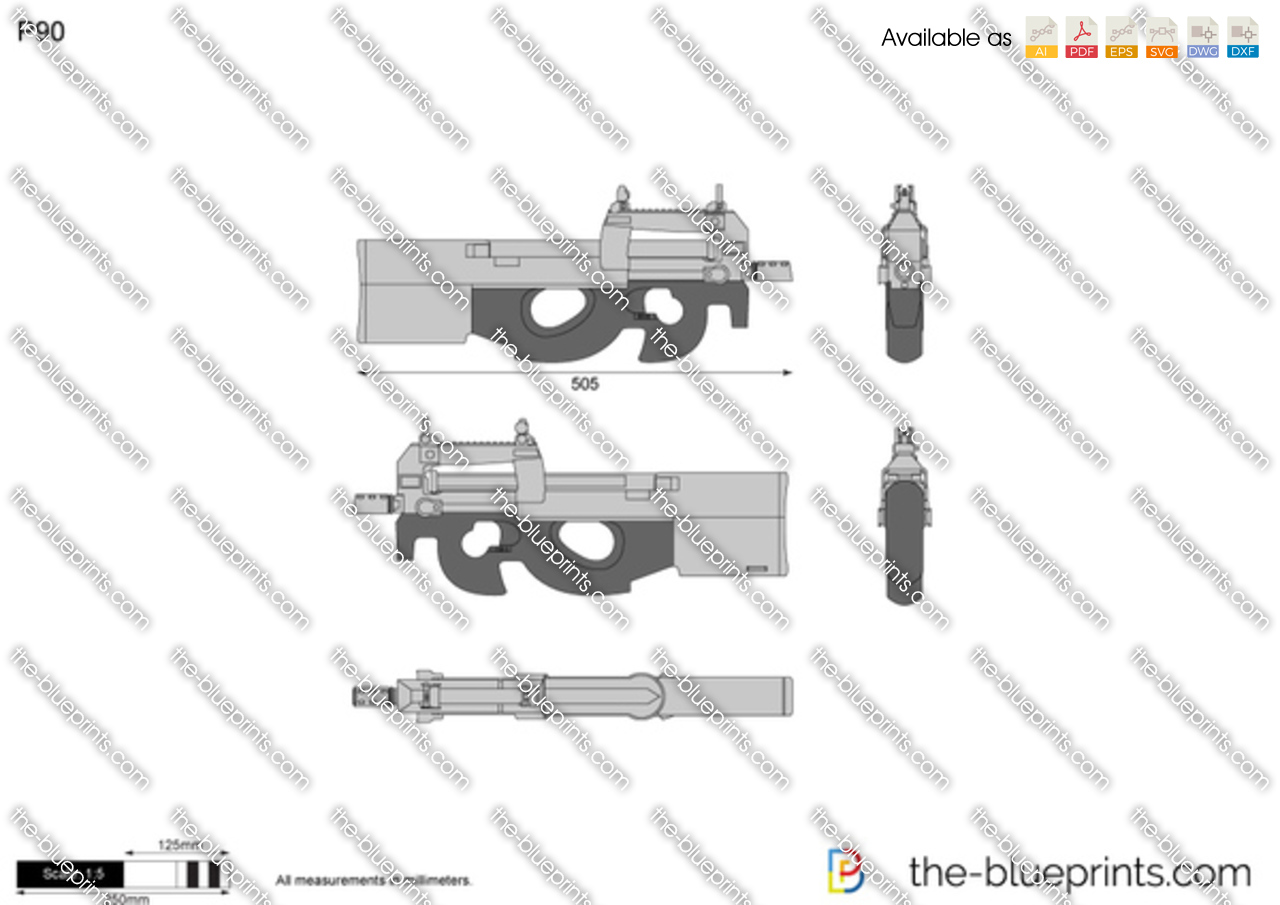 The Blueprints Com Vector Drawing P90