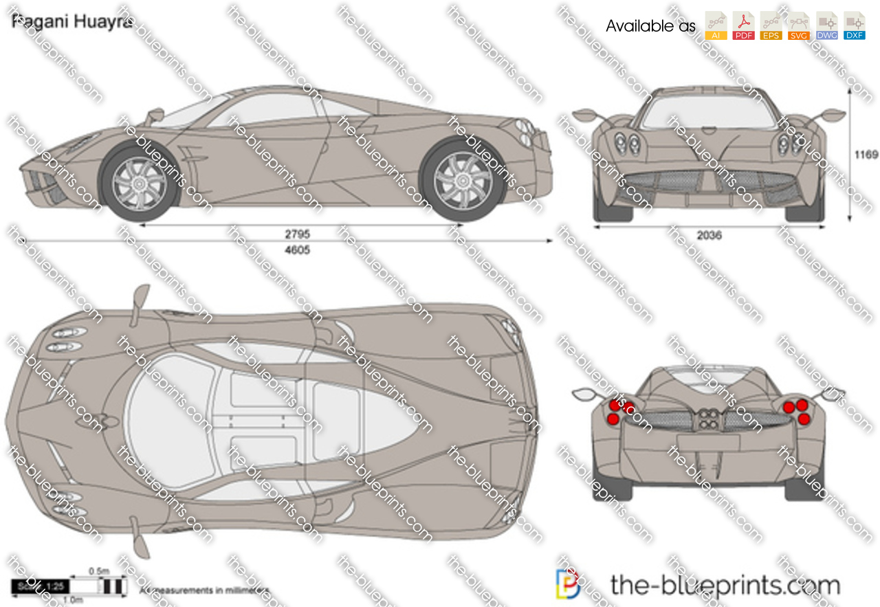 the blueprints     vector drawing   pagani huayra