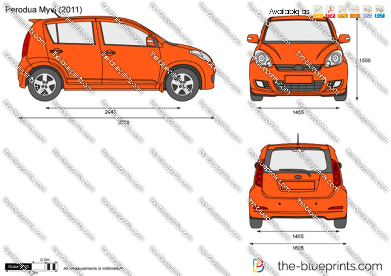 Perodua Myvi Vector Drawing