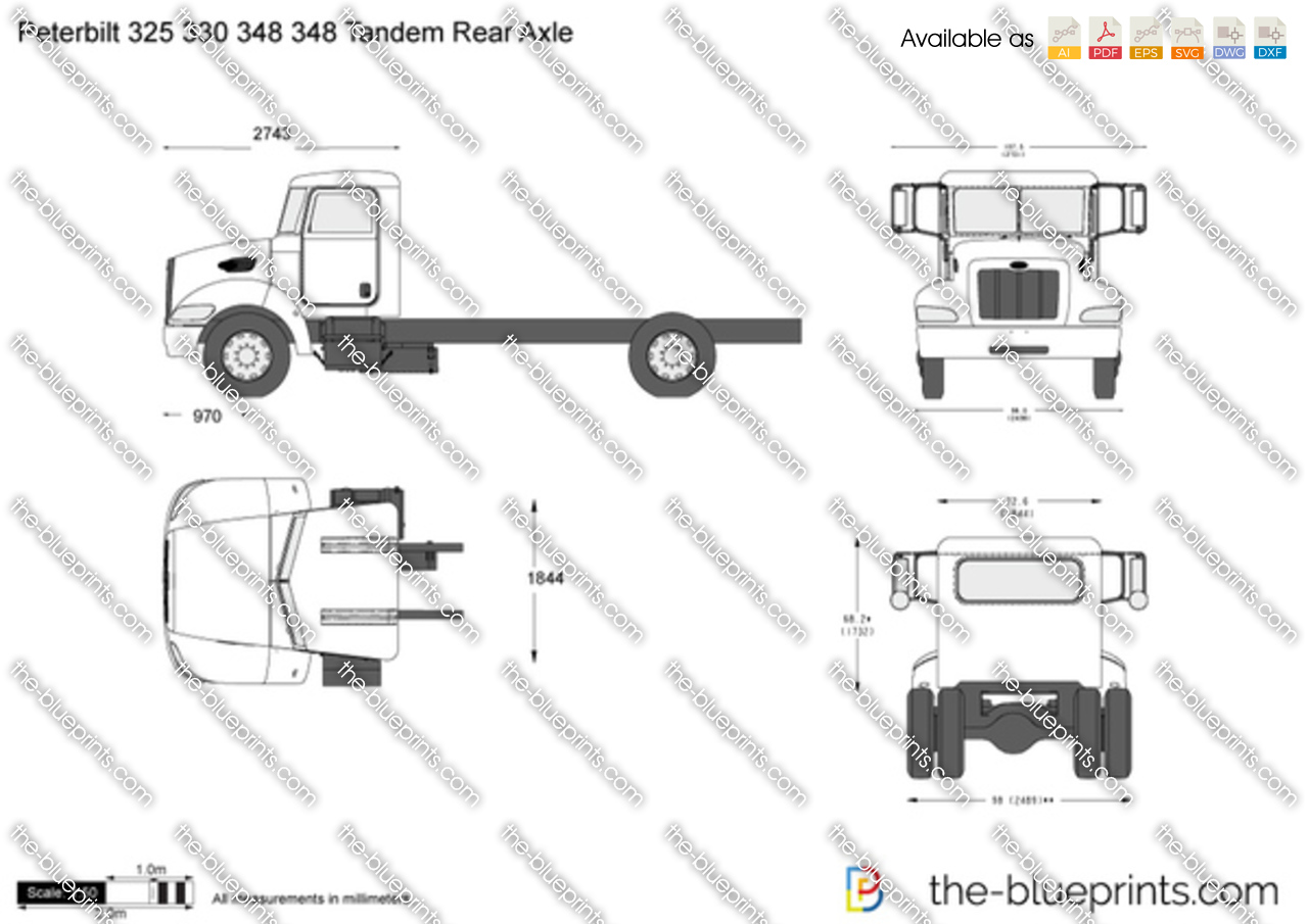 Peterbilt 330 vector drawing for Cabover house plans