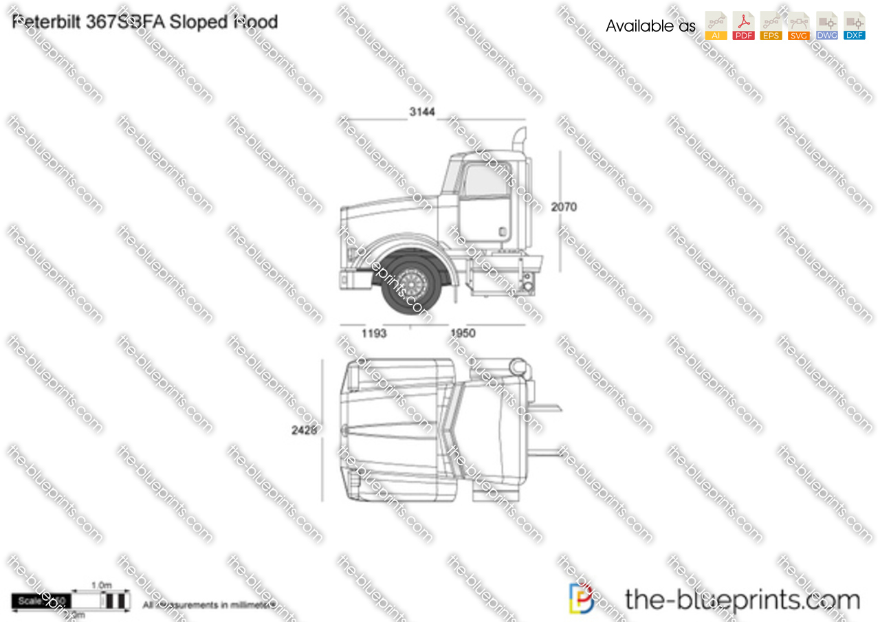 peterbilt 367sbfa sloped hood vector drawing