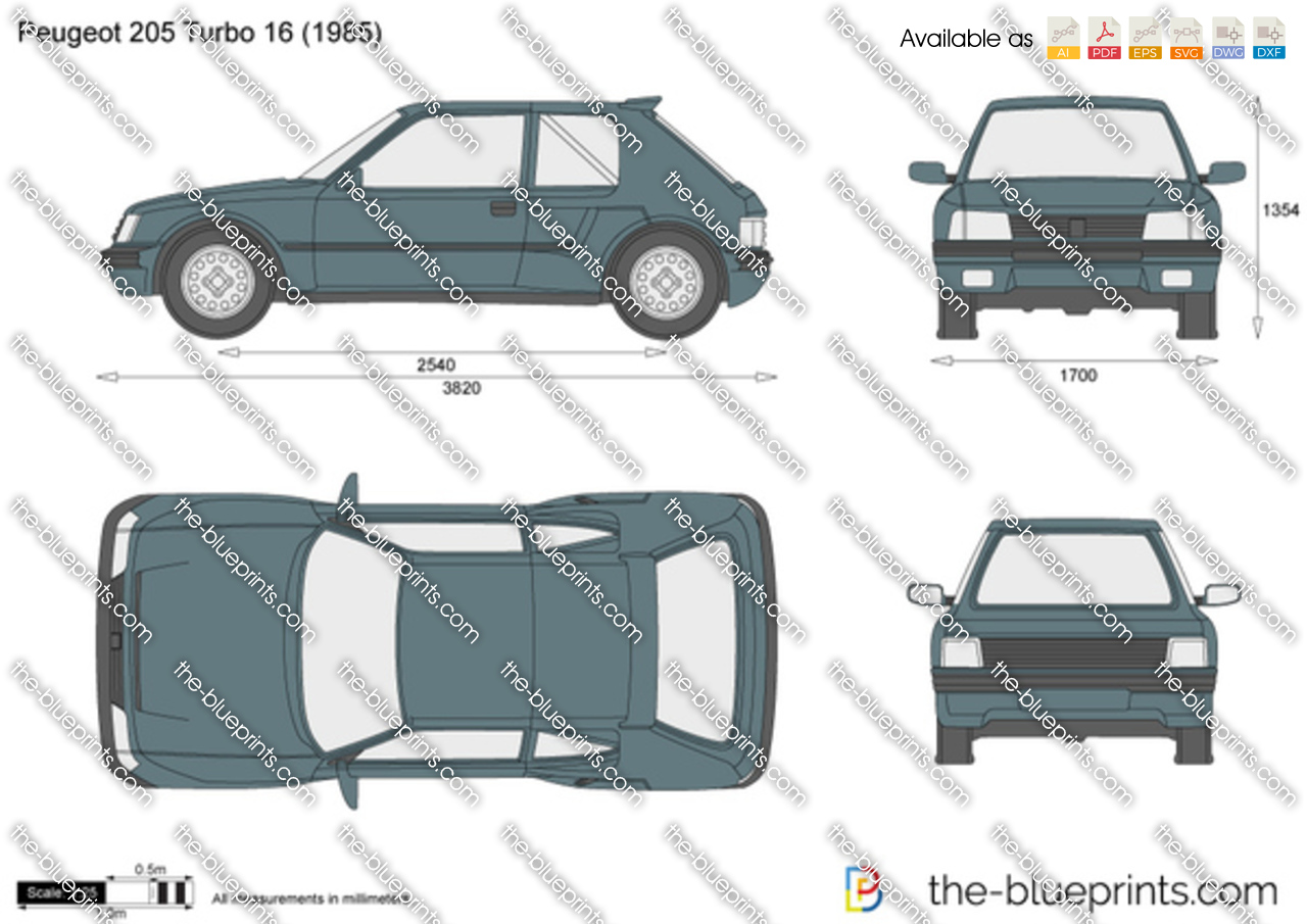 Peugeot 205 Turbo 16 Vector Drawing