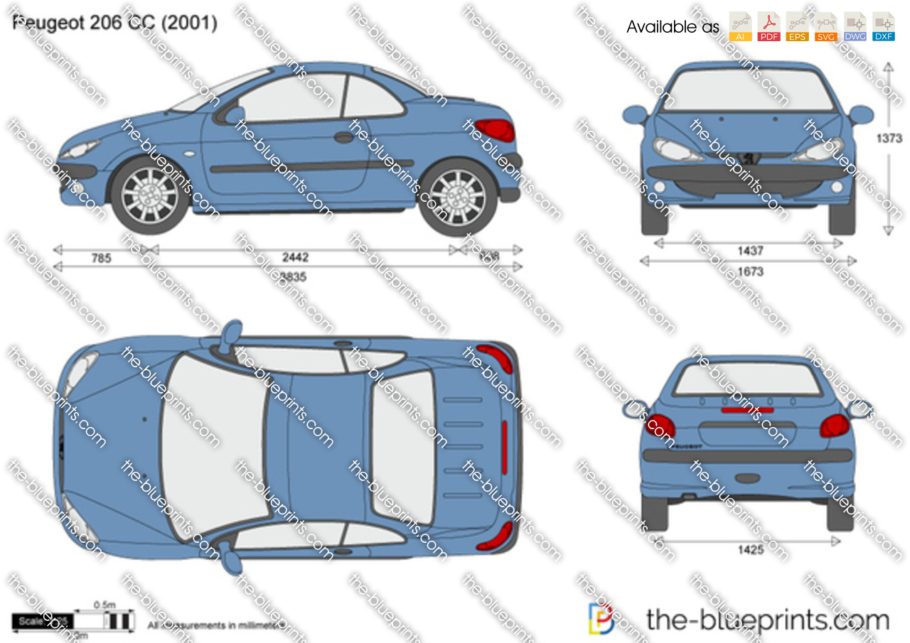 the vector drawing peugeot 206 cc. Black Bedroom Furniture Sets. Home Design Ideas