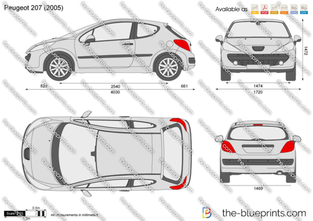 peugeot 207 3 door vector drawing. Black Bedroom Furniture Sets. Home Design Ideas