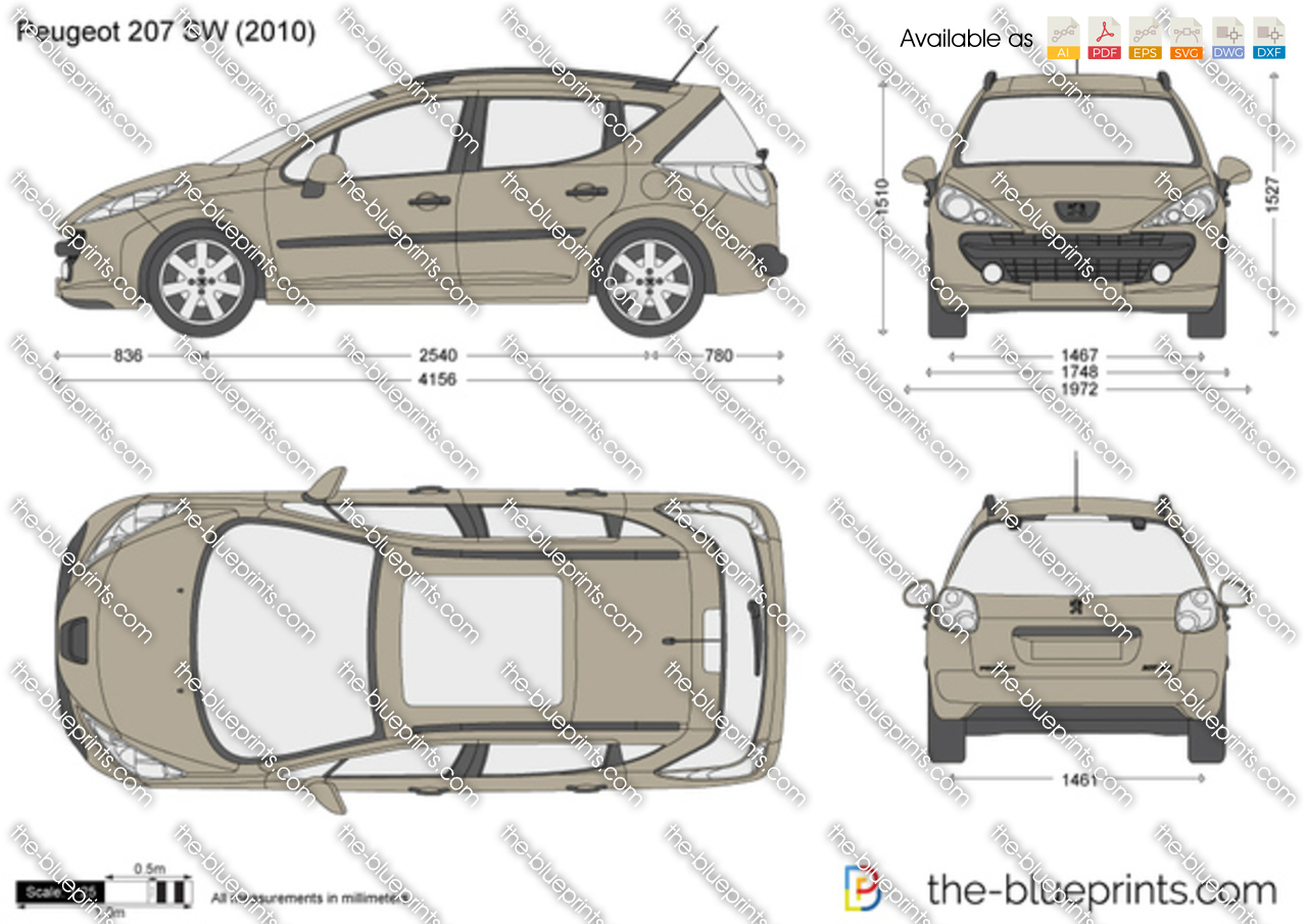 Peugeot 207 Sw Vector Drawing