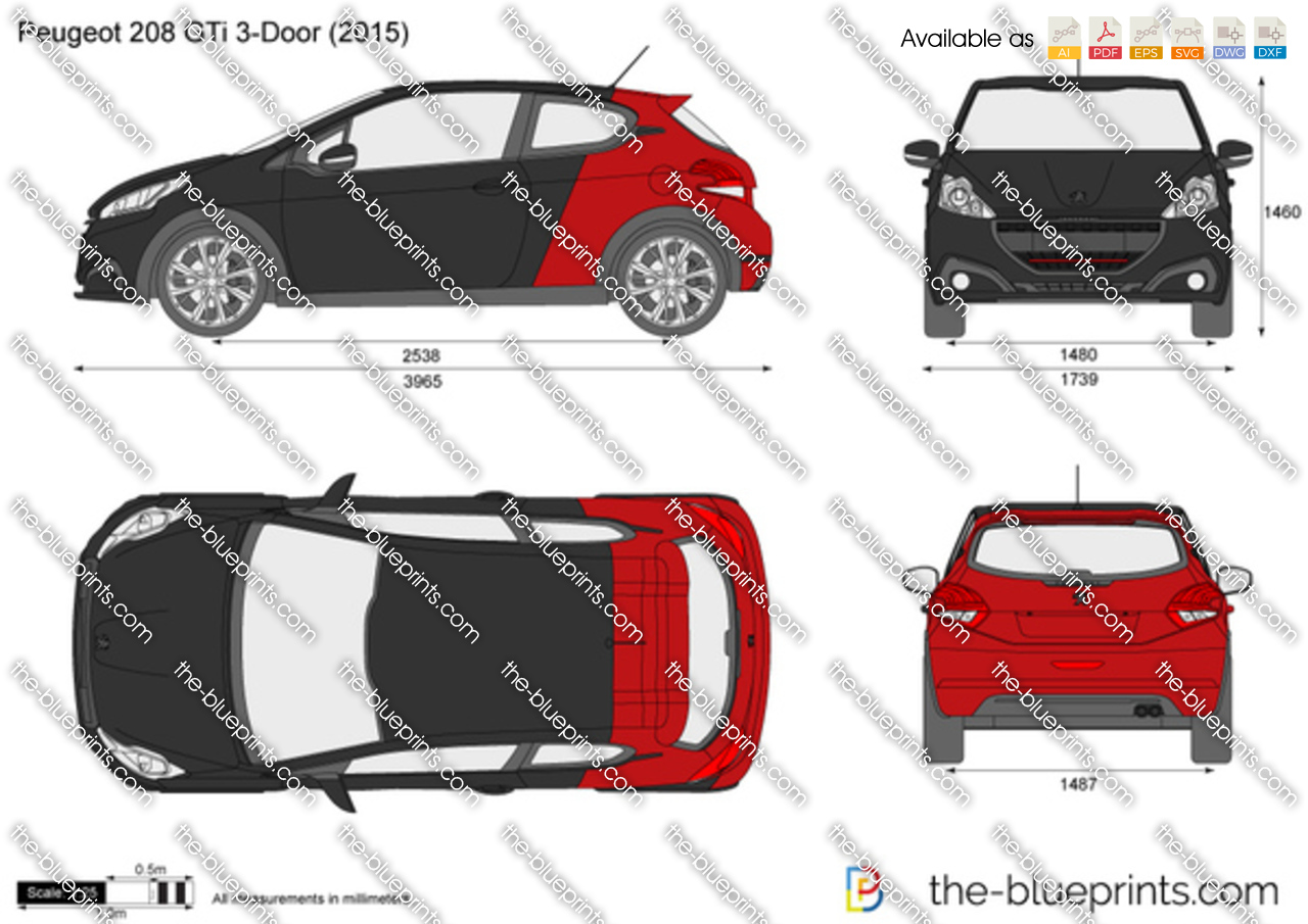peugeot 208 gti 3 door vector drawing. Black Bedroom Furniture Sets. Home Design Ideas
