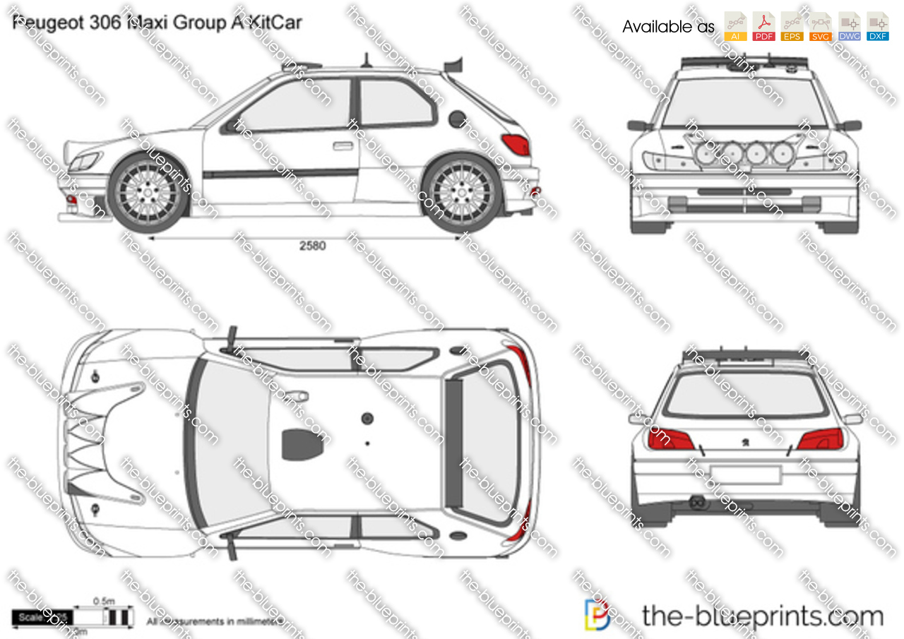 Peugeot 306 Maxi Group A KitCar vector drawing