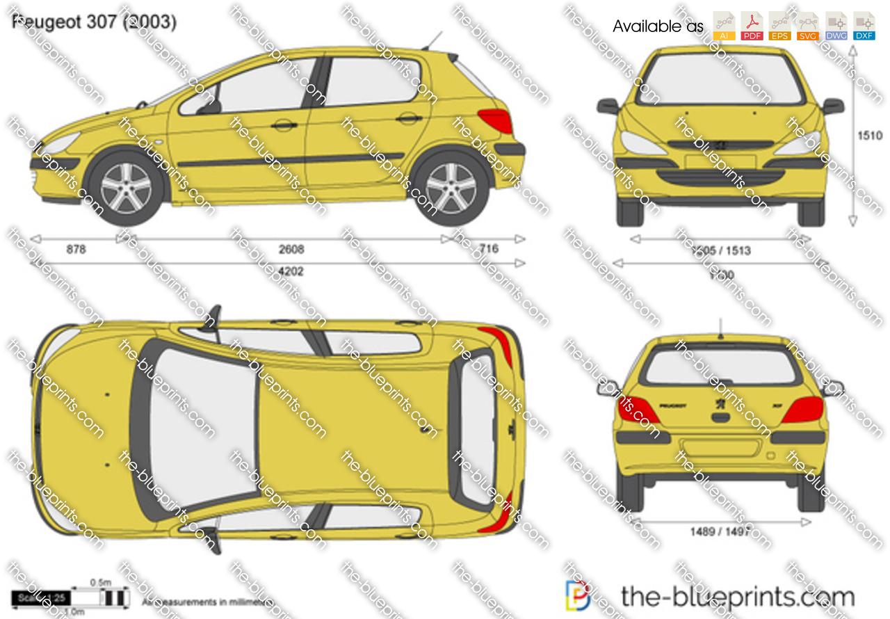 Peugeot 307 Vector Drawing