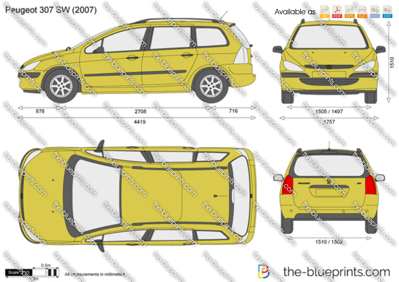 peugeot 307 sw vector drawing. Black Bedroom Furniture Sets. Home Design Ideas
