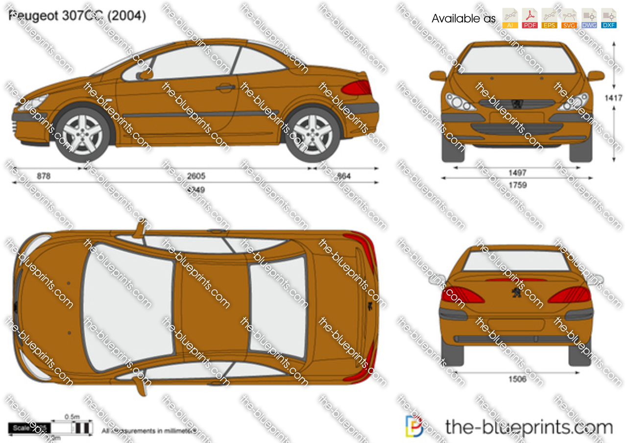the vector drawing peugeot 307cc. Black Bedroom Furniture Sets. Home Design Ideas