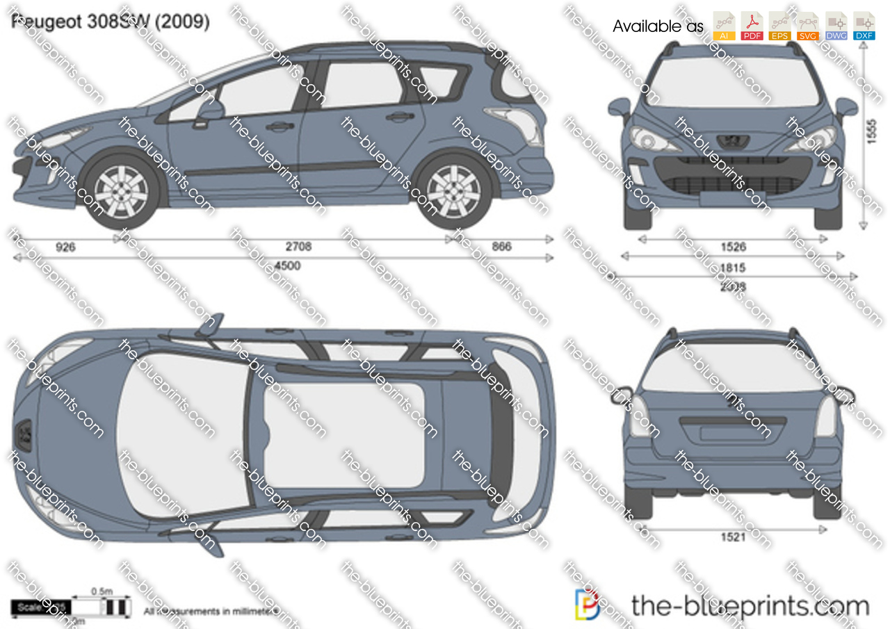 Peugeot 308sw Vector Drawing