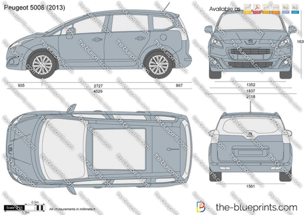 Peugeot 5008 Vector Drawing