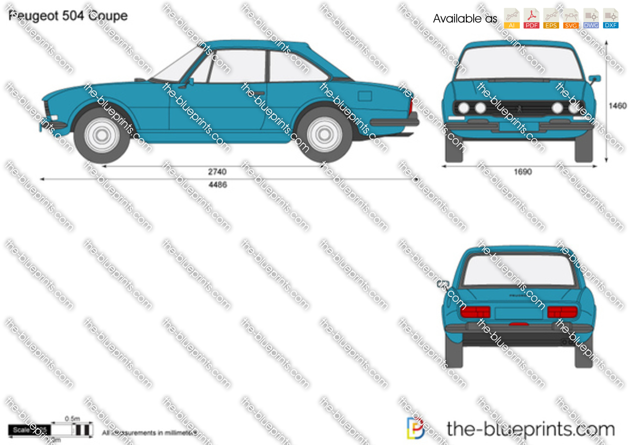 Peugeot 504 Coupe Vector Drawing
