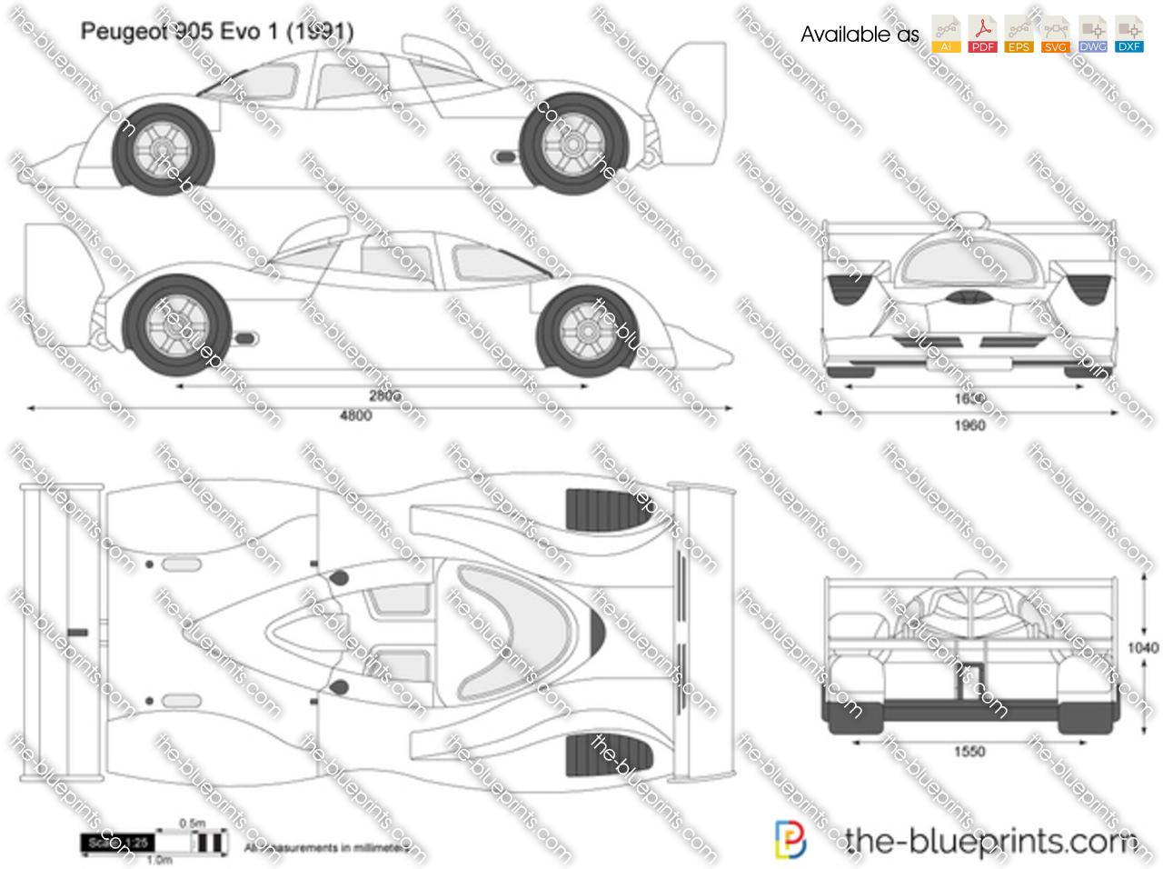 Peugeot 905 Evo 1 Vector Drawing