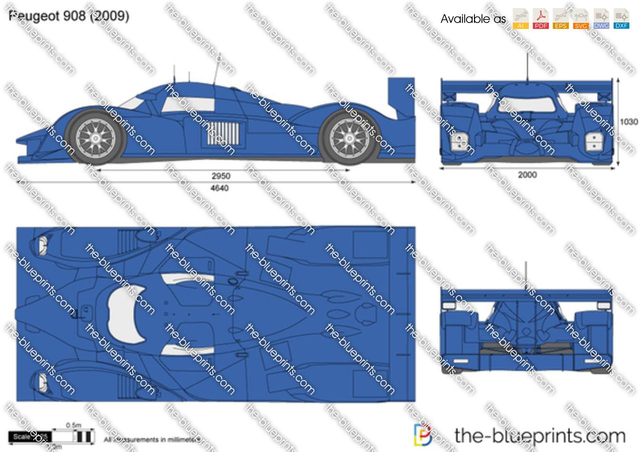 The-Blueprints.com - Vector Drawing - Peugeot 908