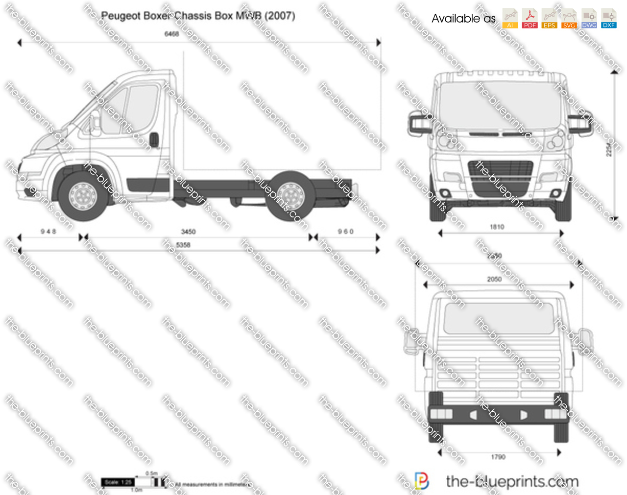 the vector drawing peugeot boxer chassis box mwb. Black Bedroom Furniture Sets. Home Design Ideas