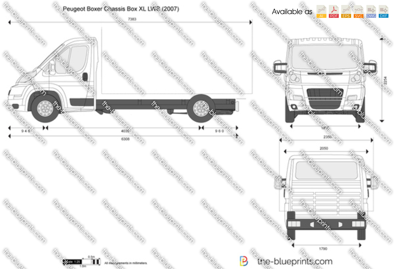 peugeot boxer chassis box xl lwb vector drawing. Black Bedroom Furniture Sets. Home Design Ideas