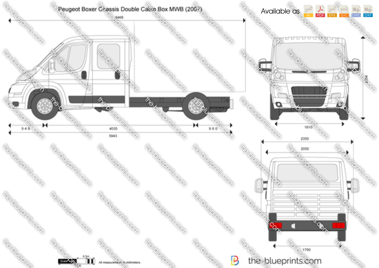 Peugeot boxer chassis double cabin box mwb on scale car drawing