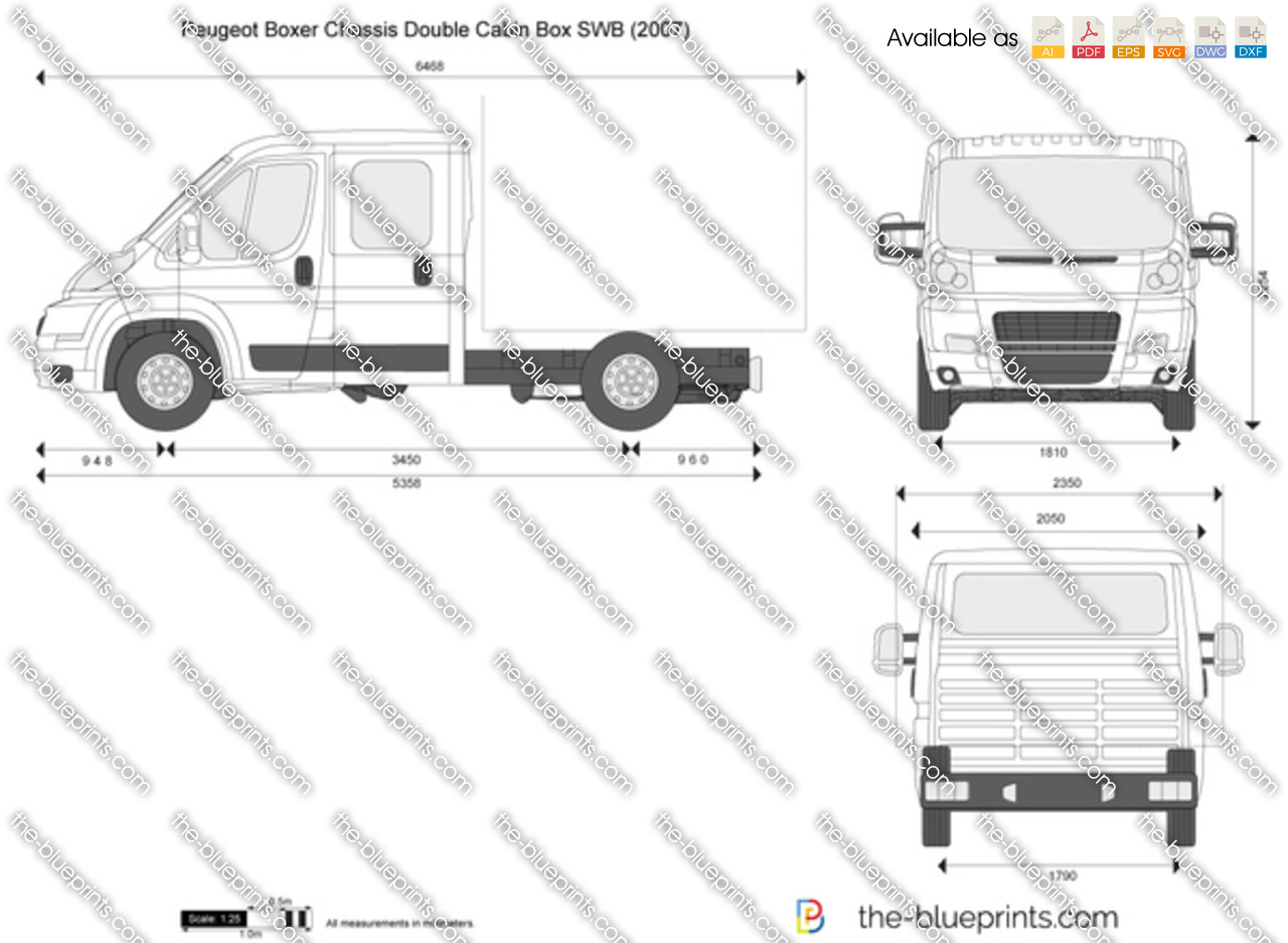 the vector drawing peugeot boxer chassis double cabin box swb. Black Bedroom Furniture Sets. Home Design Ideas