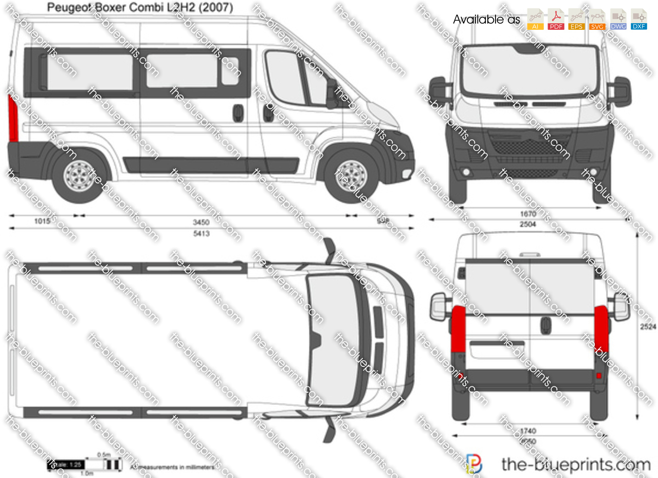peugeot boxer combi l2h2 vector drawing. Black Bedroom Furniture Sets. Home Design Ideas