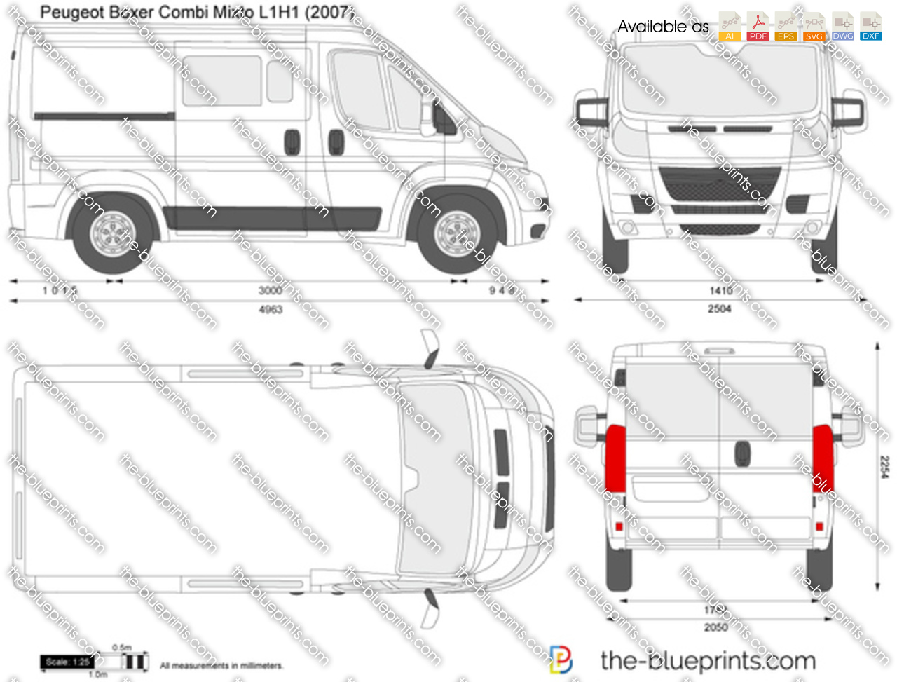 the vector drawing peugeot boxer combi mixto l1h1. Black Bedroom Furniture Sets. Home Design Ideas