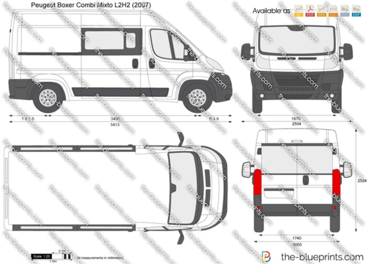 peugeot boxer combi mixto l2h2 vector drawing. Black Bedroom Furniture Sets. Home Design Ideas