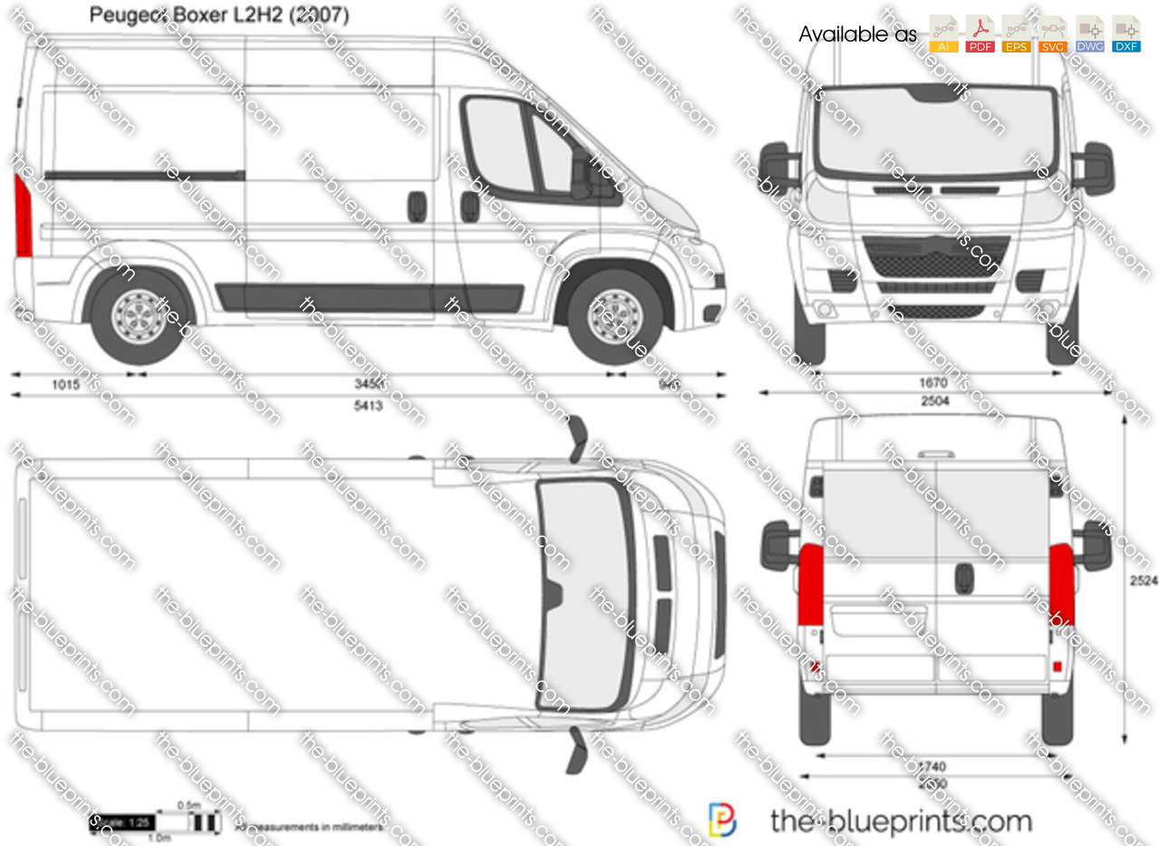 The-Blueprints.com - Vector Drawing - Peugeot Boxer L2H2: www.the-blueprints.com/vectordrawings/show/1011/peugeot_boxer_l2h2