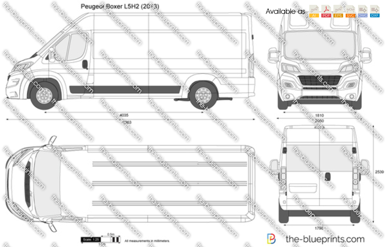 peugeot boxer l4h2 vector drawing